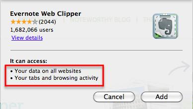 Evernote Web Clipper install message