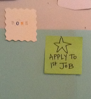 My green 'Apply to 1st job' post-it note